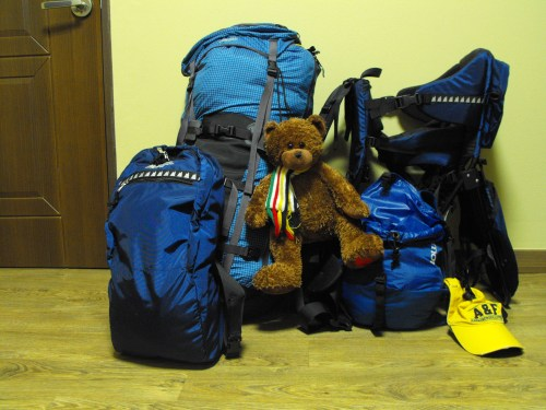 "We've ""simplified"" our lives to this: a travel backpack, two daypacks, a baby carrier and Ian's teddy, Hudson Bear."