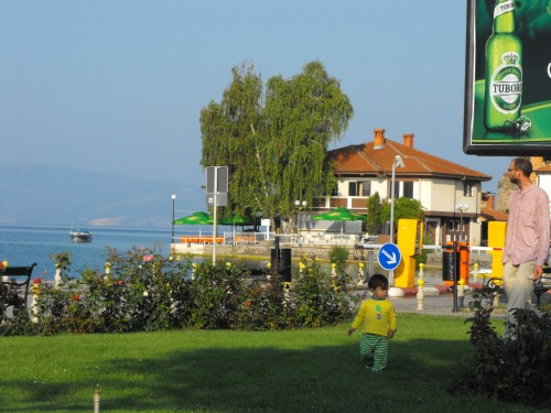 Ian playing in a park by Ohrid's lakefront.