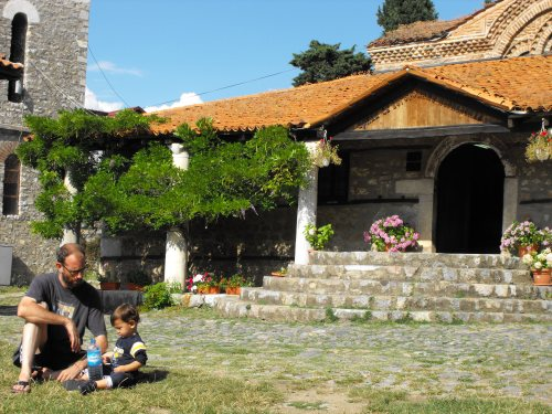 Ian and I at one of the beautiful old churches in Ohrid's Old Town. Nice pasty white legs I'm sporting, eh?