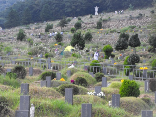 A view of some of the tombs (burial mounds, really) at the graveyard where my father-in-law's parents are buried. You can also see some folks paying their respects.